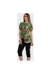 Blusa Casual Carbella Rose Manga Bufante Estampada Floral Com Cinto Floral Verde