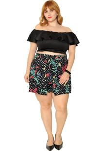 Blusa Vintage And Cats Cropped Plus Size Babados Preto