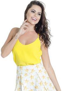 Blusa Regata Alça Fina Decote V 100% Viscose Colcci - Feminino-Amarelo