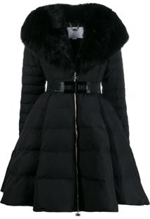 Elisabetta Franchi Flared Padded Jacket - 110 Black
