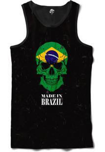 Regata Bsc Caveira País Brasil Sublimada Preto