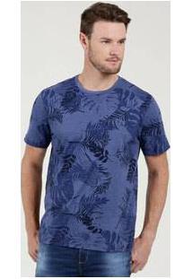 Camiseta Masculina Estampa Folhas Curta Marisa