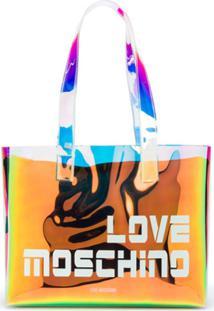 Love Moschino Iridescent Logo-Print Tote - Preto