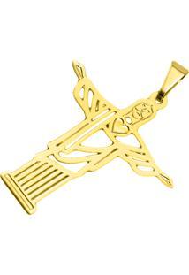 Pingente Cristo Redentor Tudo Jóias Folheado Dourado