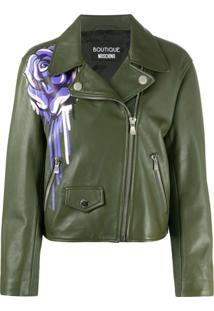 Boutique Moschino Jaqueta Biker Com Bordado Floral - Verde
