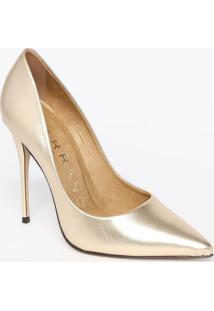 Scarpin Em Couro Metalizado- Dourado- Salto: 11,5Cmcarrano