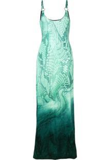 Just Cavalli Vestido Longo Com Efeito De Pele De Cobra - Verde