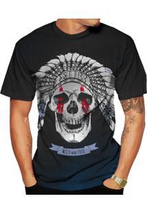 Camiseta Di Nuevo Caveira Indígena Skull Selvagem Preta