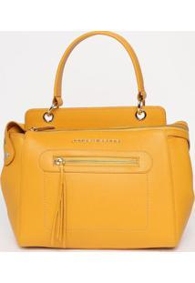 Bolsa Em Couro Com Recortes - Amarelo Escuro- 25X33Xjorge Bischoff
