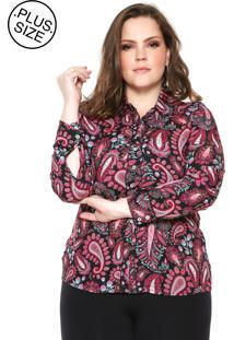 Camisa Wee! Reta Estampada Plus Size Preta/Rosa