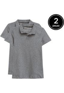 Kit 2 Camisas Polo Basicamente Feminino - Feminino-Cinza
