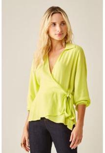 Blusa Sacada Ml Laço Feminino - Feminino-Verde Limão