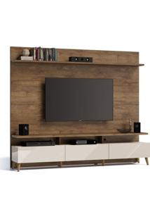 Estante Para Home Theather E Tv Até 60 Polegadas Boss Madeira Touch E Off White