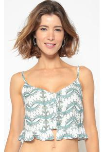 Blusa Cropped Arabescos- Branca & Verde ÁGua- Cia. Mcia MarãTima