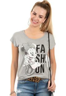 Blusa Estampada Com Pedraria Cinza Disney