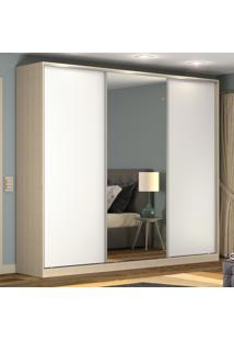 Guarda-Roupa Casal 3 Portas Correr 1 Espelho 100% Mdf Rc3002 Noce/Branco - Nova Mobile