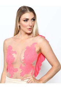 Body Com Babados - Rosa Neon & Nudemaria Gueixa