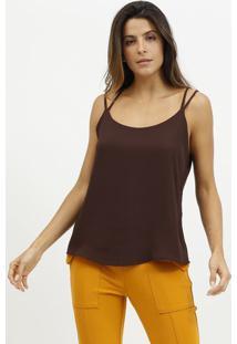 Blusa Lisa & Texturizada Com Tiras- Marrom Escuro- Mmiliore