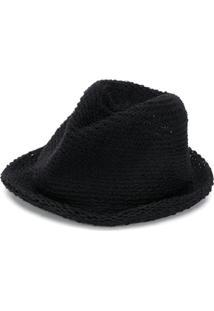 Yohji Yamamoto Chapéu Fedora De Crochê - Preto
