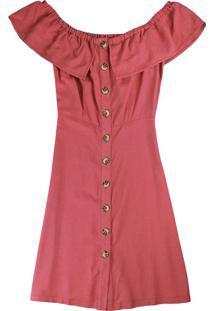 Vestido Vermelho Ciganinha Curto Com Linho