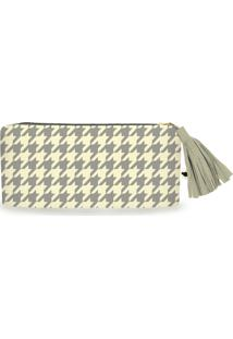 Clutch Nita Faco Pied-De-Coq Off-White
