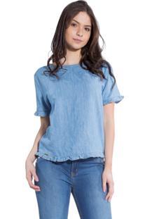 T-Shirt Rosa Line Jeans Com Babados