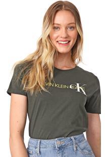 Blusa Calvin Klein Jeans Lettering Verde - Kanui