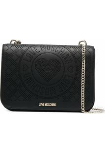 Love Moschino Perforated Logo-Letter Shoulder Bag - Preto
