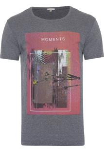 Camiseta Masculina Estampa Moments - Cinza