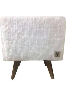 Puff Pé Palito Quadrado Alce Couch Pelinho Pelúcia Branco 40Cm