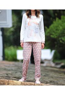 Pijama Longo Moletinho Raposa Lua Cheia (0971) Poliviscose