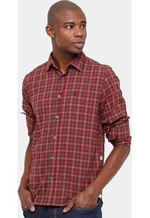 Camisa Xadrez Triton Efeito Amassado Masculina - Masculino-Vermelho