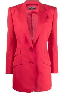 Dolce & Gabbana Blazer Longo Com Abotoamento Único - Vermelho