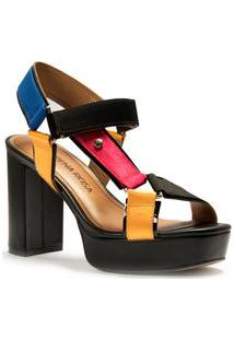 Sandalia Salto Alto Rebite Personalizado Estampado