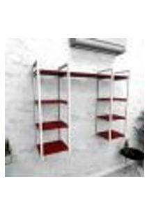 Estante Industrial Escritório Aço Cor Branco 120X30X98Cm Cxlxa Cor Mdf Vermelho Modelo Ind52Vres