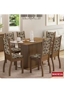 Mesa De Jantar 6 Lugares Greice Rustic/Bege Marrom - Madesa Móveis