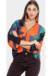 Camisa Morena Rosa Manga Longa Estampa Abstrata Feminina - Feminino-Marinho+Laranja