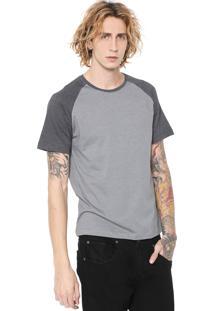 Camiseta Fiveblu Manga Curta Raglan Cinza