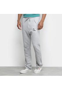 Calça Moletom Calvin Klein Básica Masculina - Masculino-Mescla