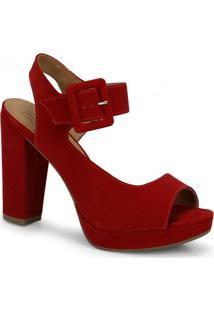 Sandália Salto Bebecê Recorte Vermelho