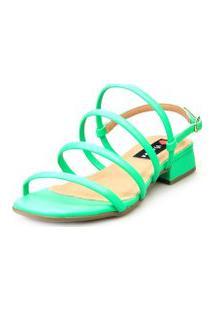 Sandália Saltinho Baixo Love Shoes Tiras Fashion Neon Verde