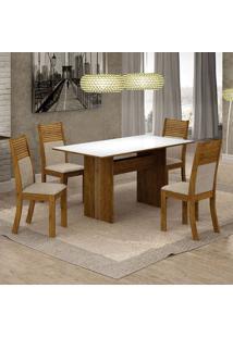 Conjunto De Mesa De Jantar Florença V Com 4 Cadeiras Havaí Linho Branco E Bege