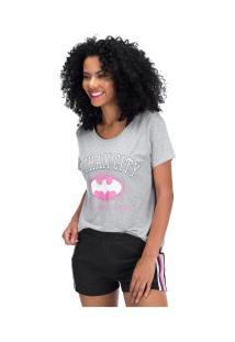 Camiseta Liga Da Justiça Gotham Athletic - Feminina - Cinza