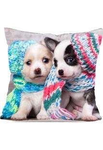 Capa De Almofada Avulsa Decorativa Cute Dogs 35X35Cm