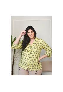 Camisa Feminina Mac-Lu Estampada Manga Longa Linha Premium Amarelo Primavera
