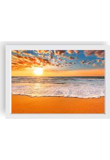 Quadro Love Decor Decorativo Com Moldura Por Do Sol Praia Branco
