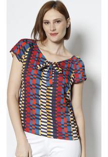 Blusa Com Amarraã§Ã£O- Vermelha & Amarelo Escuro- Vip Vip Reserva