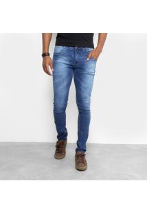 Calça Jeans Skinny Biotipo Estonada Cintura Média Masculina - Masculino-Azul Escuro