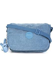 Bolsa Up4You Flap Alça Transversal Com Charm Bag Feminina - Feminino-Azul