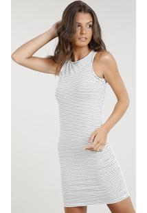 4675e05c5 R$ 44,99. CEA Vestido Off White Justo Listrado Sem Manga Curto Estampado  Algodão Elastano Poliester Clock Listras Feminino